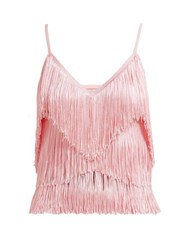Norma Kamali Tiered Fringe Stretch Jersey Crop Top Pink