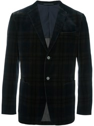 Z Zegna Plaid Single Breasted Blazer Blue