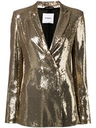 Ainea Sequin Double Breasted Blazer Gold
