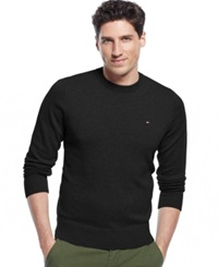 Tommy Hilfiger Signature Solid Crew Neck Sweater Deep Knit Black