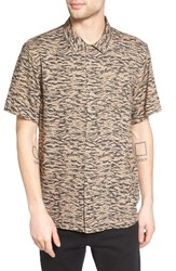 Obey Men's Untamed Print Woven Shirt Sand Multi