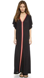 Pitusa Abaya Maxi Dress Black W Fuchsia