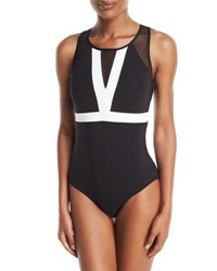 Jets By Jessika Allen Classique High Neck Colorblocked Open Back One Piece Swimsuit Multi