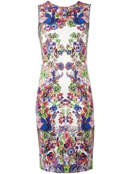 Roberto Cavalli Floral Print Fitted Dress White