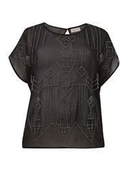 Label Lab Plus Size Tribal Beaded Woven Top Black