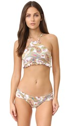 Pilyq Ruffle High Neck Bikini Top Paisley