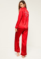 Missguided Red Piping Detail Pyjama Set