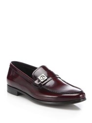 Giorgio Armani Spazz Side Bit Leather Loafers Fancy Red