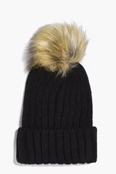 Boohoo Sofia Detachable Faux Fur Pom Beanie Hat Black