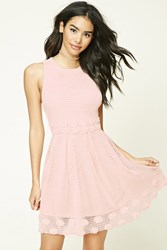Forever 21 Open Knit Pleated Dress Blush