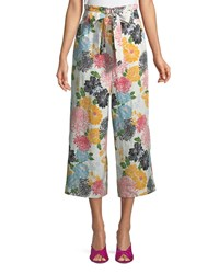 Neiman Marcus Belted Floral Culotte Pants Multi