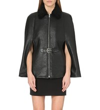 Saint Laurent Buckle Detailed Leather Cape Black