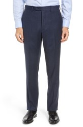 John W. Nordstrom Torino Traditional Fit Flat Front Solid Wool And Cashmere Trousers Denim Blue