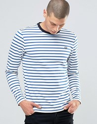 Fred Perry Long Sleeved Breton Stripe T Shirt In Mid Blue Mid Blue