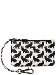 Dolce And Gabbana Cats Dauphine Leather Pouch With Chain