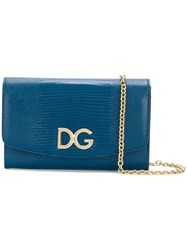 Dolce And Gabbana Crossbody Wallet Bag Calf Leather Blue