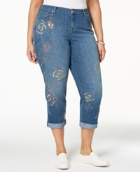 Styleandco. Style Co Plus Size Embroidered Cropped Jeans Created For Macy's Kingston