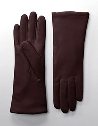 Lord And Taylor Cashmere Lined Leather Gloves Chianti