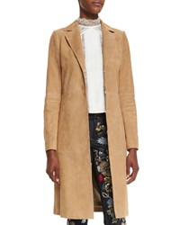 Alice Olivia Logan Suede Mid Length Coat Tan