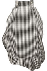 A.W.A.K.E. Cutout Gingham Woven Midi Skirt Black