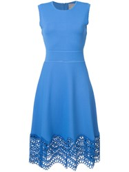 Lela Rose Dress With Crochet Detailing Women Polyester Viscose S Blue