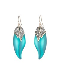 Alexis Bittar Crystal Encrusted Capped Feather Earrings Lake Blue