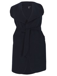 Samya Plus Sized Waterfall Collar Jacket Navy