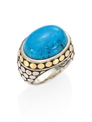 John Hardy Dot Turquoise 18K Yellow Gold And Sterling Silver Dome Ring