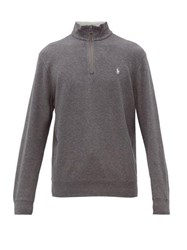 Polo Ralph Lauren Logo Embroidered Cotton Blend Sweatshirt Grey
