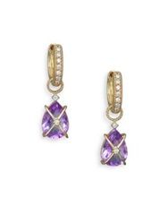 Jude Frances Classic Lavender Amethyst Diamond And 18K Yellow Gold Wrapped Pear Earring Charms