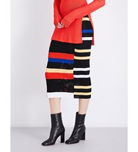 Proenza Schouler Striped Crochet Knit Pencil Skirt Black Orange Blue