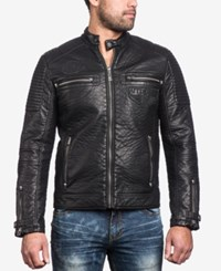 Affliction Men's Dusty Metal Faux Leather Moto Jacket Black