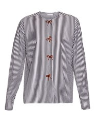 J.W.Anderson Bow Embellished Striped Cotton Shirt Black White