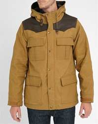 Schott Nyc Camel Hunt Leather And Canvas Parka With Wool Lining