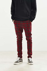 Urban Outfitters Uo Tartan Skinny Pant Red