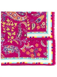 Etro Floral Print Scarf Pink