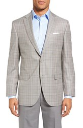 David Donahue Men's Big And Tall Connor Classic Fit Plaid Wool Sport Coat Tan