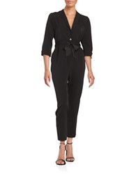 Erin Fetherston Jodi Three Quarter Sleeve Shawl Collar Jumpsuit Black