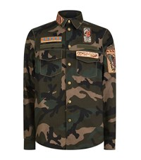 Valentino Cigar Box Embellished Camo Jacket Male Green