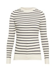 Joostricot Striped Cotton Blend Sweater White Navy