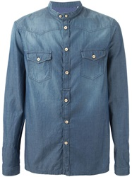 Paolo Pecora Band Collar Denim Shirt
