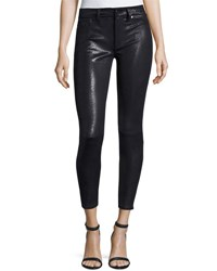 7 For All Mankind The Knee Seam Snake Embossed Ankle Skinny Jeans Black