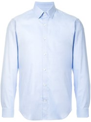 Cerruti 1881 Classic Long Sleeved Shirt Cotton Spandex Elastane Blue