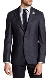 Ike Behar Long Sleeve Wool Sport Coat Blue