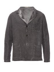 Massimo Alba Patch Pocket Linen And Cotton Blend Jacket Grey