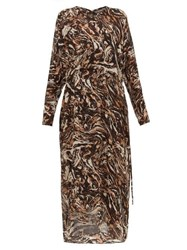 Raey Drawstring Waist Marbled Animal Print Silk Dress Brown Print