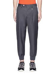 Christopher Kane Logo Charm Virgin Wool Pants Grey