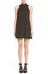 Leith Sleeveless Mock Turtleneck Shift Dress Black Cable