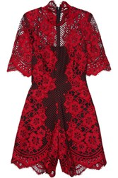 Alexis Heidi Corded Lace Playsuit Red