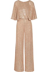 Temperley London Stardust Sequined Chiffon Jumpsuit Pastel Pink